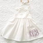 Baby girls white dress, matching headband, monogrammed white dress, coming home, take home outfit, shower gift, keepsake dress, easter dress