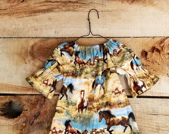 Girls Horse Dress - Western baby outfit - Yellowstone - Wild Horses - Navajo
