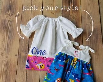 Baby Shark Dress - Baby Shark Birthday Dress - One - personalized baby shark outfit - girls baby shark