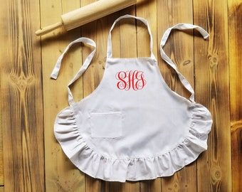 Personalized Apron - kids or adults apron with monogram - Christmas gift - White ruffle apron