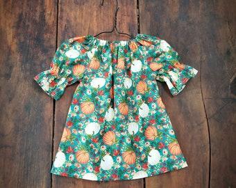 Fall Dress - Girls Pumpkin Dress - Pumpkin patch outfit - baby thanksgiving dress