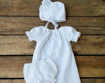 Christening Gown, Dedication Gown, Baptismal Gown, Affordable, Simple, Dedication outfit, Set, Cross, Baby Baptism,