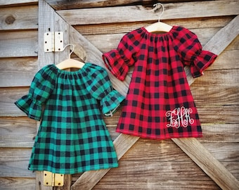 Girls Christmas dress, Christmas Pajamas, Buffalo Plaid, Red and Green Dress, Holiday Outfit, woodsy, rustic, monogrammed