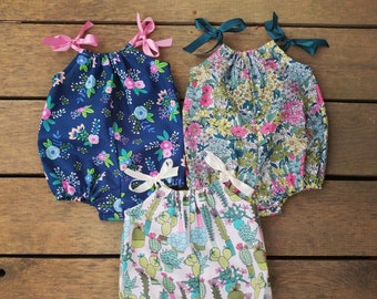 Bubble Romper, Sunsuit, boho, Navy Floral, Cactus, Summer hippie baby clothes, baby girls romper, cake smash outfit, coming home outfit