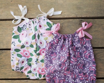 Purple Infant Romper, baby floral romper, magnolia, baby girl clothes, coming home outfit, pink floral bubble romper, summer baby