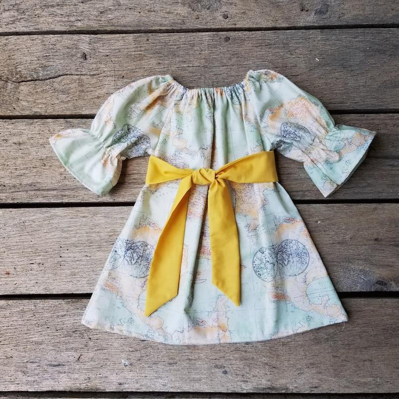 Girls back to school Dress Vintage Map Dress boho baby image 0