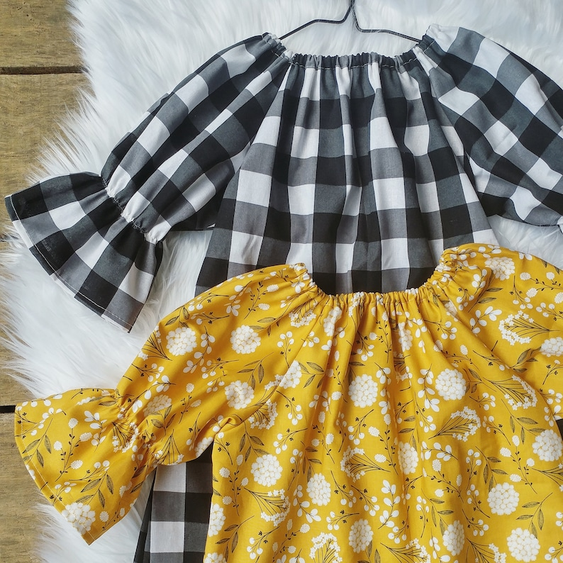 Girls Dress Fall Floral black gingham mustard girls dress image 0