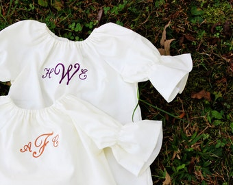Monogrammed Dress, three quarter length long sleeve white dress coming home outfit size newborn 0 3 6 12 months 2t 3t 4t 5  baptismal