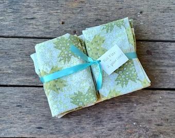 Vintage Sheet Set - green patchwork - Flat sheet and 2 pillowcases - boho decor