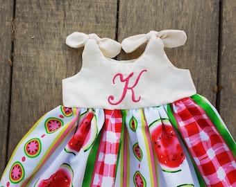 watermelon dress, Monogrammed Knot Dress, newborn 0-3, 3-6, 6-12, 12-18, 18-24 months, summer, dress coming home outfit, watermelons, fruit