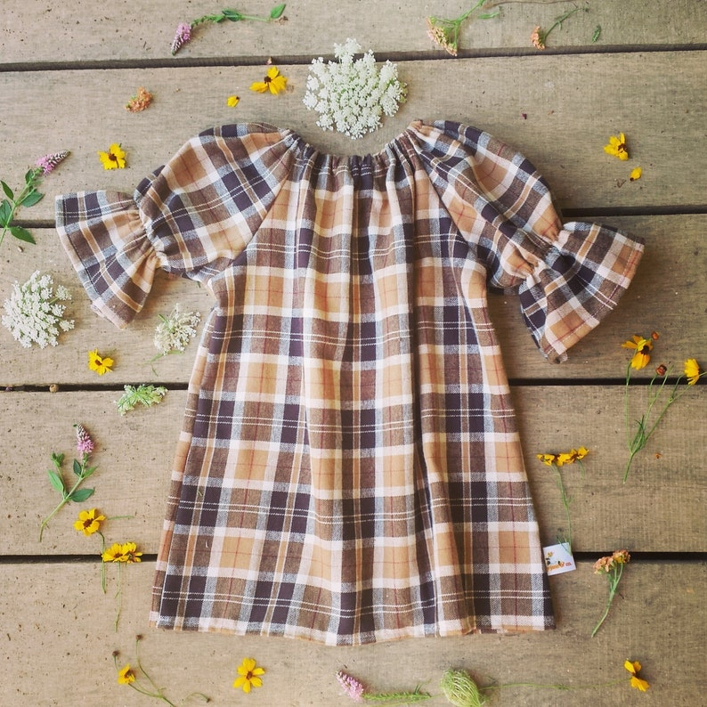 Brown Plaid Flannel dress Girls fall dress thanksgiving image 0