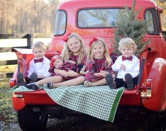 Girls red plaid Christmas dress, winter dress, tartan plaid Christmas dress, plaid baby dress
