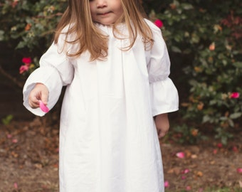 White or ivory three quarter length long sleeve peasant dress, flower girl fall, baptismal gown, winter, coming home outfit, toddler, girls