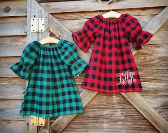 Girls buffalo plaid flannel Dress, green Plaid, thanksgiving, Christmas dress, winter, fall baby girl outfit, baby, toddler, girls