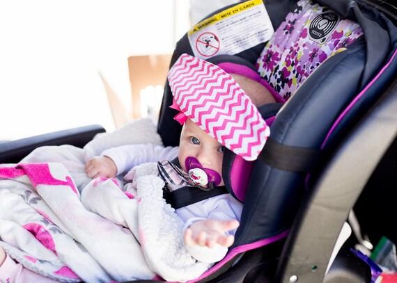 PINK NAVY GREY Chevron Car Seat Sleep Strap No Flopping Head