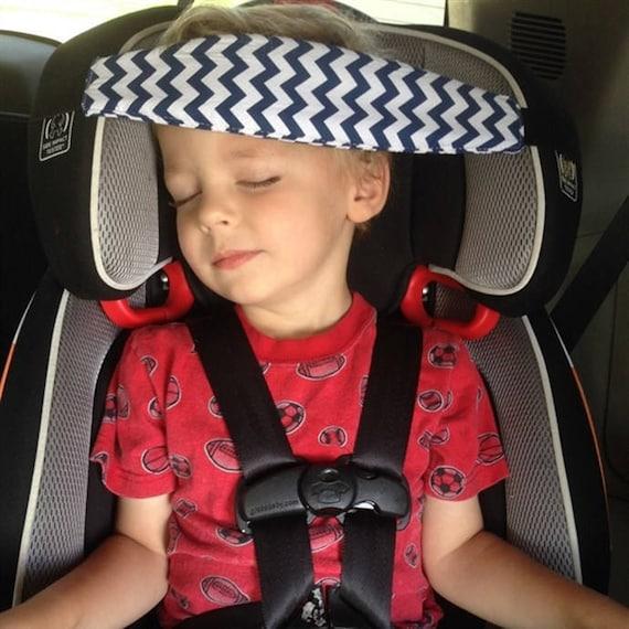 NAVY PINK GREY Chevron Car Seat Sleep Strap No Flopping Head