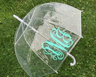 Monogram Umbrella for Adults | Clear Umbrella | Bubble Umbrella | Wedding Umbrella | Personalized Umbrella | Rain Umbrella | Teacher Gift