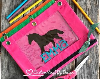 Cowboy Personalized Pencil Pouch  Custom Personalized Kids Cowboy Horse School Pencil Bag  Pencil Case