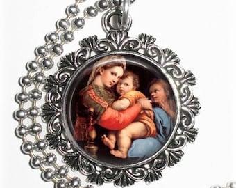 Madonna della Seggiola Art Pendant, Madonna of the Chair Resin Pendant, Raphael Art, Photo Pendant Charm