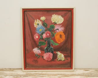 Original Floral Painting Chrysanthemums Poppy Mums Cat