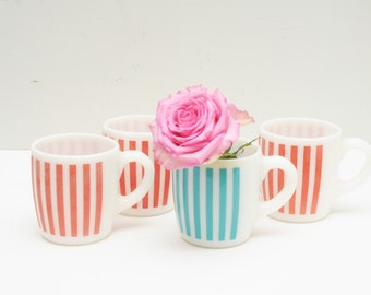 Vintage Pink and Turquoise Mugs Set of 4