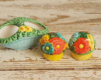 Floral Basket Salt and Pepper Shakers Painted JAPAN