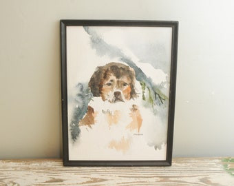 Bernese Mountain Dog Watercolor Painting Signed