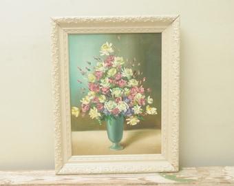 Roses Oil Painting Ornate Frame