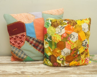 PAIR Vintage Quilted Pillows Groovy