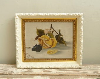 Victorian Oil Roses Painting Ornate Frame