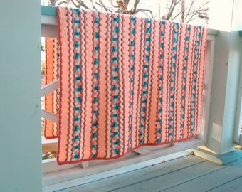 Mid Century Crocheted Afghan Peach Turquoise Stripe 1960s