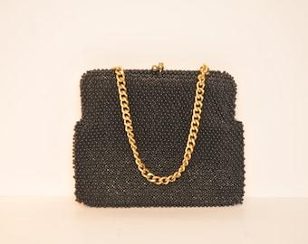 Mid Century Le Jule JAPAN Beaded Black Purse Cute Handbag