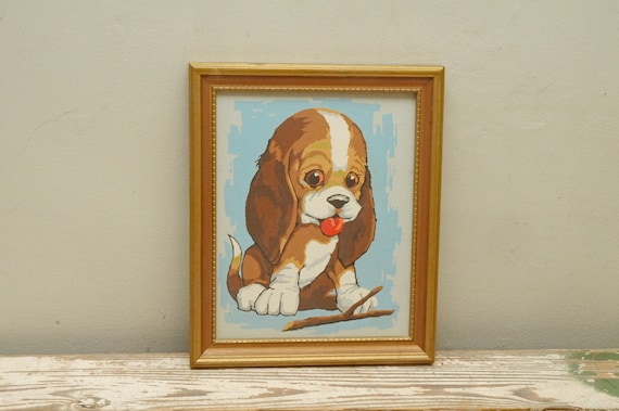 Dog Decor New Puppy Gift Gift for Dog People Hand Painted Beagle Silhouette on Stained Wood with Name Overlay Painting