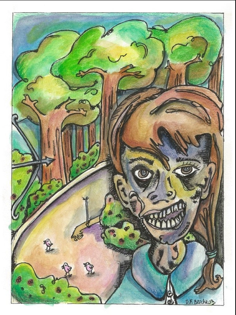 Watercolor Zombie Painting Zombie Painting Zombie Drawing Etsy