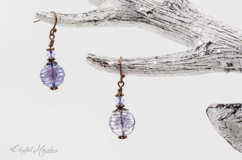 Christmas Gift Beaded Earrings Czech Glass Flower Earrings Antiqued Copper Dangle Earrings Purple Flower Earrings Stocking Stuffer