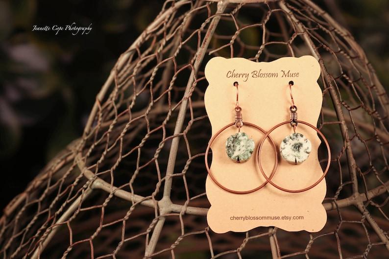 Green Flower Earrings Boho Earrings Summer Earrings Rustic Earrings Carved Flower and Copper Hoop Earrings Tree Agate Earrings