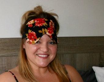 Oversized Womens Sleeping Sleep Travel Eye Mask Stretchy Silk Satin Floral Eyemask Sleepmask
