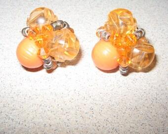 Bright orange Clip on Earrings Vintage Costume Jewelry #5228