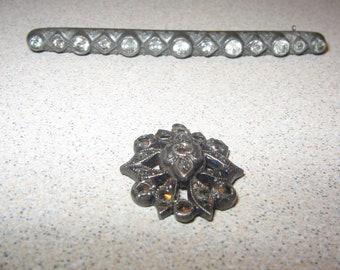 Sterling Silver bar Rhinestone Pin Vintage Costume Jewelry #5714