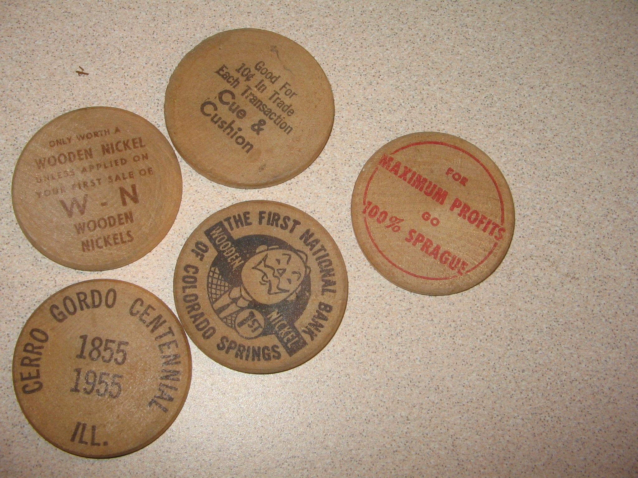 Old Wooden Nickels Illinois Colorado Coins Old Vintage Antique Collectible 13545
