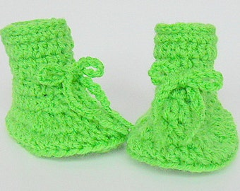 Bright Lime  Green Baby Boy  Booties 3 6 9  Month Old  Infant Girl  Slippers  Crib Shoes