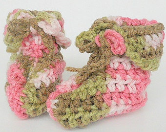 Newborn Baby Girl Camouflage Booties  3 4 5 6 Months Infant Boy  Pink Green Brown Camo Slippers