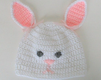 65c811373be8f White Baby Bunny Hat Newborn Boy Rabbit Cap Infant Girl Easter Beanie  Toddler Clothing 1 Month To 2 Years Old Ready To Ship Photo Prop