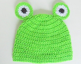 ccfaf48486f Adult To Newborn Frog Hat Pre Teen Girl Cap 2 3 4 5 Years Old Boy Green  Lime Beanie 9 12 15 18 Months Toddler Animal Halloween Photo Prop