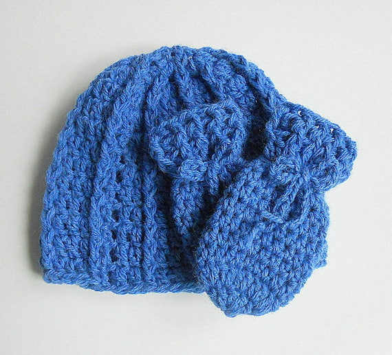 5b21bcd34434 Thumbless Blue Baby Mittens And Hat Set 2 Year Old Toddler