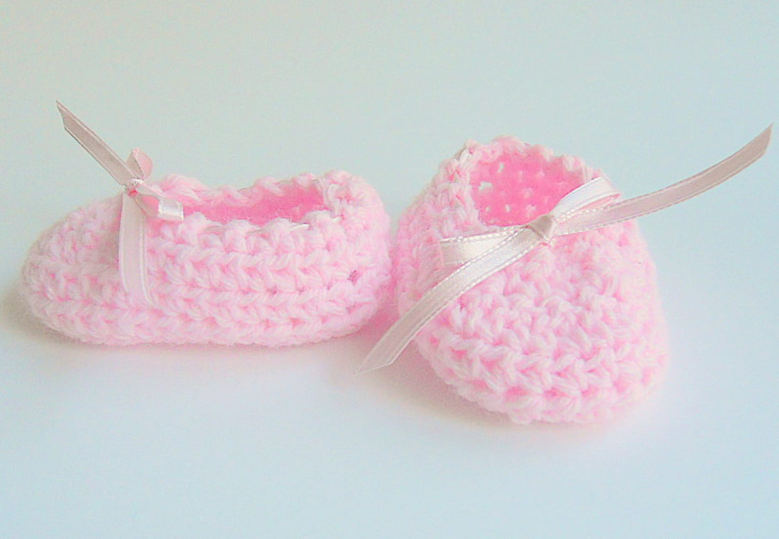 pink baby booties infant girl ballet slippers crochet light pastel ballerina shoes newborn 3 6 9 months crib shoes ready to ship