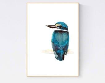 A2 Blue Kingfisher Print, Sacred Kingfisher Watercolour, Australian Native Bird Wall Art, Bird Home Decor, Archival Fine Art Print
