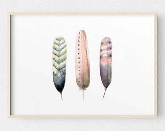 A2 Feather Watercolour Print, Feathers Watercolor Painting, Large Boho Illustration, Girls Bedroom Wall Art, Vertical or Horizontal Art
