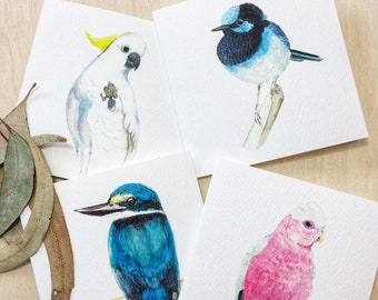 Australian Native Bird Greeting Cards Set, Four Birds Small Square Gift Cards, Made in Australia, Australiana Watercolour Painting