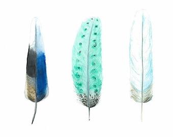 Watercolour Blue Feathers, Indigo & Aqua Boho Feather Art Print, Woodland Wall Art, Blue Interior Decor, Australian Seller